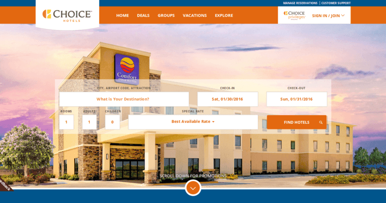 Choice Hotels Home Page